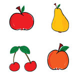 Fruit in color vector illustration. On white background Royalty Free Stock Images