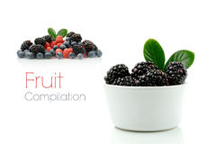 Fruit Compilation. A compilation of fresh seasonal berries against a white background. Copy space Stock Image