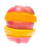Fruit composed apple and orange. Royalty Free Stock Photos