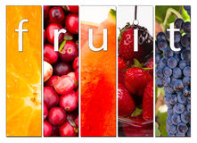Fruit Composite Fresh Raw Food Cranberries Grapes Strawberries Orange. Composite image including 5 panels depicting fruit with the word fruit inside with styling Stock Images