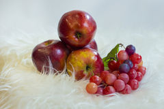 Fruit composition. With apples and grapes Royalty Free Stock Photo