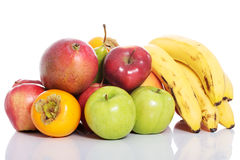Fruit composition over white. Stock Photo