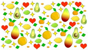 Fruit composition on a white background stock illustration