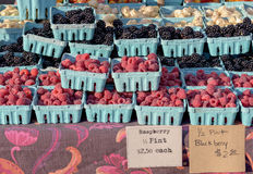 Fruit in containers for sale at the market Stock Image