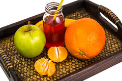 Fruit, cookies, nuts, wooden tray, white background Stock Photos