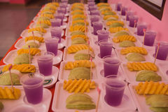 Fruit and cool drink in tray snack for trainees.  stock photos