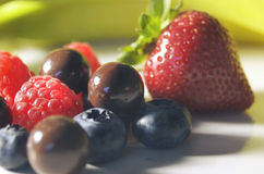 Fruit and Cordials. Chocolate and fruit stock photo