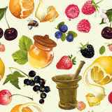 Fruit cosmetic seamless pattern Stock Images