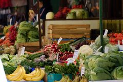 Fruit counter - vegetable market stand Stock Image