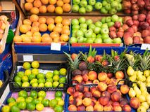 Fruit counters in super market shopping mall stock photography