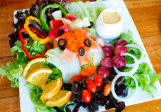 Fruit and crab salad with shrimp eggs Royalty Free Stock Photo