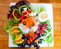 Fruit and crab salad with shrimp eggs Stock Images
