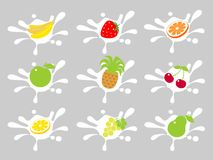 Fruit in cream Stock Images