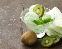 Fruit creamy ice cream with green kiwi Stock Photo