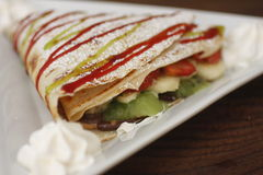 Fruit Crepe. A breakfast fruit crepe Royalty Free Stock Photo