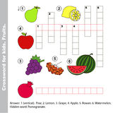 Fruit crossword for kids. Stock Photos