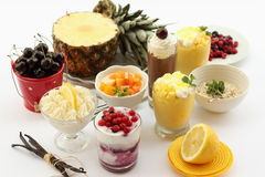 Fruit cup cream Stock Photos