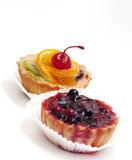 Fruit cupcake with cherry Stock Image