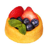 Fruit Cupcake isolate on white. Sponge cake with fresh blueberry Stock Photo