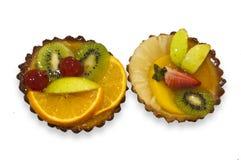 Fruit cupcakes stock photos