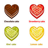 Fruit cupcakes collection valentines day. Fruit cupcakes collection in the shape of a heart valentines day Royalty Free Stock Photos