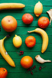 Fruit in a cut closeup, grapefruit, orange, lemon, tangerine, fruit background. rustic food. fruit. Fresh fruits.Mixed fruits back Stock Photography