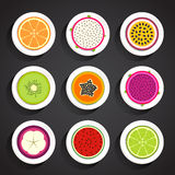 Fruit cut in half Royalty Free Stock Images