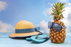 Fruit d'ananas avec des lunettes de soleil, des sandales de plage de bascule électronique et un s Photo libre de droits