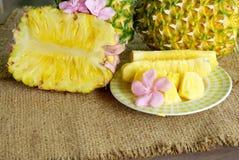 Fruit d'ananas sur le fond brun de sac Images libres de droits