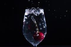 Fruit dans un verre de l'eau Photos stock