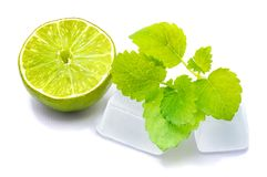 Fruit de chaux avec la mélisse d'isolement sur le blanc Image stock