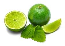 Fruit de chaux avec la mélisse d'isolement sur le blanc Images stock
