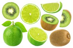 Fruit de citron et de kiwi d'isolement sur le fond blanc ramassage Photos stock