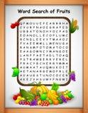 Fruit de découverte de mot de jeux de mots croisé pour des jeux d'enfants illustration libre de droits
