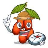 Fruit de jujube d'explorateur dans la mascotte de forme illustration de vecteur