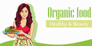 Fruit de légumes de femme de beauté Image libre de droits
