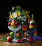 Fruit de la vie et une bouteille toujours faite main, avec du vin domestique photos stock
