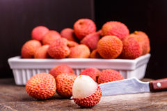 Fruit de litchi, qui s'appelle la prune de Chinese Images stock