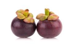 Fruit de mangoustan d'isolement sur le blanc Photos libres de droits