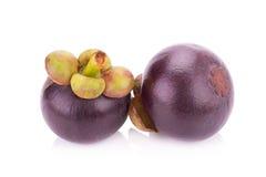 Fruit de mangoustan d'isolement sur le blanc Image libre de droits