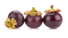 Fruit de mangoustan d'isolement sur le blanc Photo libre de droits