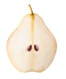 Fruit de poire coupé en tranches d'isolement sur le fond blanc Image libre de droits