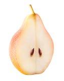 Fruit de poire coupé en tranches d'isolement sur le fond blanc Photo stock