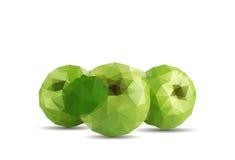 Fruit de pomme du résumé trois avec le style de triangle et le fond blanc Photographie stock