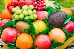Fruit de regard frais et normal composé dans un cadre Photographie stock