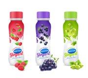Fruit de yaourt et ensemble d'icône de baies illustration stock