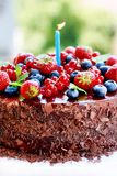 Fruit decorated triple chocolate cake Stock Photography