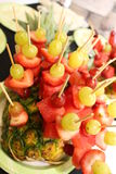 Fruit decoration. A picture of a decoration made of fruit Stock Image