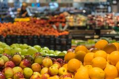 Fruit department in the supermarket Royalty Free Stock Photo