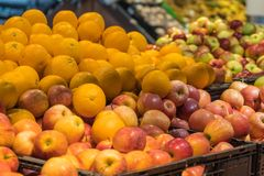 Fruit department in the supermarket Stock Photos